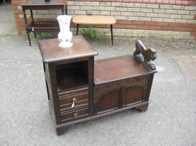 Great Oak Lion Detailed Hall Seat Settle Bench Telephone Table