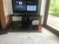 Wood and glass TV stand