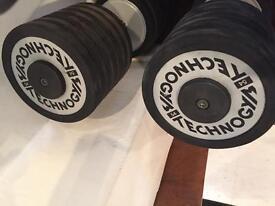 Dumbbells 54KG Pair Rubber Edged