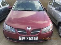 2002 NISSAN ALMERA, 2.2L DIESEL, BREAKING PARTS ONLY, POSTAGE AVAILABLE NATIONWIDE