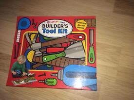 Builders tool box book with interactive puzzle pieces