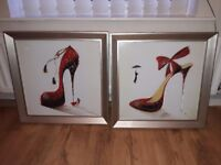Pair of wall hanging pictures silver framed