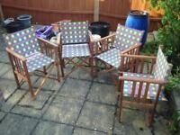 Four folding Wooden teak coloured Outdoor Chairs .