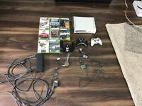 Xbox 360 60GB White Bundle 2 Controllers/8 Games/ 1 Steering Wheel