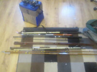 vintage sea fishng rods and box and bits