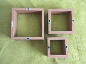 Set of three squeare shelves display