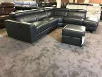 BRAND NEW DARK GREY REAL LEATHER CORNER SOFA L SHAPE SINGLE ARM CHAISE OPEN END LEFT RIGHT RECLINER
