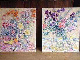 Two floral original artworks