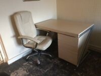 Light Ash desk/drawers and cream desk chair