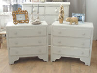 Pair of light grey shabby chic chests of three drawers bedside tables