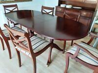Mahogany table & 6 Dining chairs.