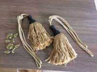 Laura Ashley tassel rope curtain tie backs and hooks gold brass