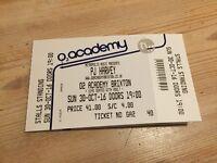 PJ HARVEY, O2 Academy Brixton, 30.10.2016, 1x ticket STALLS STANDING