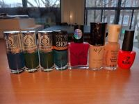 Assorted items for nail care - nail polish, boards, remover pads