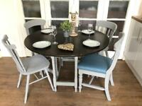 Vintage table and 4 chairs free delivery Ldn shabby chic drop leaf table