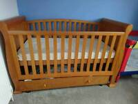 Cot bed, mattress and matching changing unit