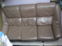 Mushroom Leather Three-Seater Sofa