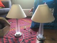 2 x ribbed glass and chrome table lamps and cream lampshades John Lewis