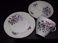 Cup, saucer and plate set. Vintage bone china.
