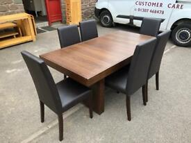 Sterling walnut dining table & 6 chairs * free furniture delivery *