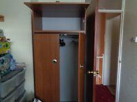 Sturdy brown single wardrobe