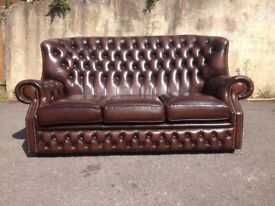 Brown leather Monks chesterfield three seater sofa - settee