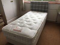 Single divan bed c/w headboard & mattress