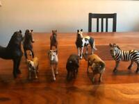 Schleich and Papo horses, sheep and zebra