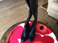 Black leather over the knee boots by Duo