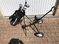 Dunlop junior golf clubs in bag and with trolley