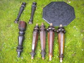 7 MAHOGANY CHAIR LEGS AND A CARVED TABLE TOP c1800s
