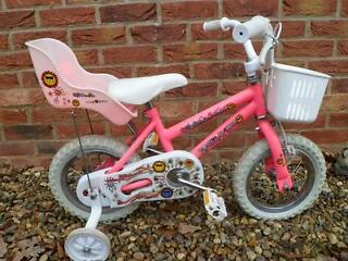 Falcon Plush Pink Girls Bike with Dolls Carrier, Basket and Stabilisers - Very Good Condition