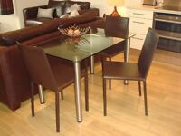 brown leather dining chairs ( 3)