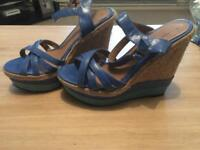 Blue & green Strappy wedge sandals size 6