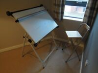 A1 Drawing Board White Orchard Ackworth with Standalone Chair Draughtsmans