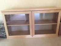 Beech glass fronted sideboard. 1430 x 400 x 740mm (w,d,h) - Very good condition