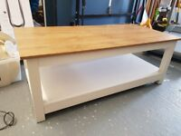 White Coffee table with oak efffect top.