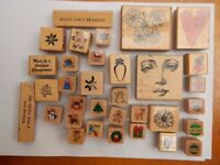 CHRISTMAS RUBBER STAMPS + VARIOUS, USED, UNUSED, 59 APPROX. STAMPING CARD MAKING