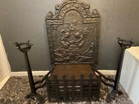 Antique fire basket and dogs with guard 1679 pax very rare detail of angel and devil cherubs