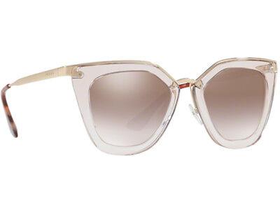 New Prada PR 53SS VYT4O0 Transparent Brown Sunglasses Silver Shaded Mirrored