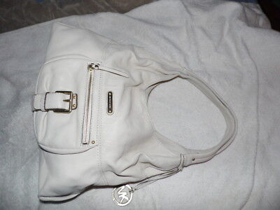 "NWT MICHAEL KORS "" Austin"" Lt. Beige~Cream Leather LG Shoulder Tote Handbag $298"