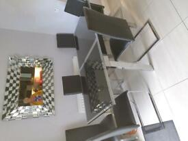Chrome & Black Glass Extending Dining Table & Chairs