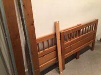 Solid Pine IKEA single bed with mattress (foam)