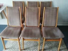 FARSTRUP Danish modern dining chairs, set of six upholstered in grey