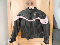 Richa Rythm Ladies Leather Motorcycle Jacket - Pink / Black Size 10