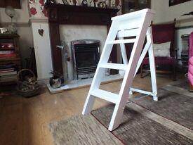 vintage 3 step, step ladders painted white