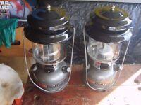 TWO COLEMAN TWIN MANTEL DUAL FUEL LAMPS LANTERNS