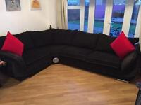 Corner sofa, swivel chair and footstool