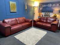 Red Violino leather suite 3 seater sofa and 2 seater sofa