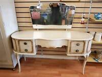 SOLD... Louis style dressing table, kidney shaped solid wood